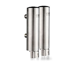 Twin stainless steel manual soap dispenser (AYT-629-2 satin)